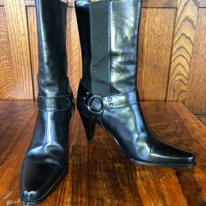 Donald J Pliner Couture Black Leather Harness Boot